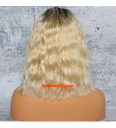 Brazilian virgin human hair ombre color curly bob lace front wigs with pre plucked hairline--[MCWBB5]