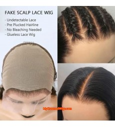 Silk Straight Pre-Made Fake Scalp Lace Front Wig [fs001]