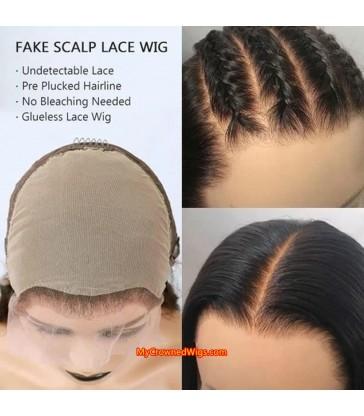Brazilian virgin bob Lace Front Wig Pre-Made Fake Scalp