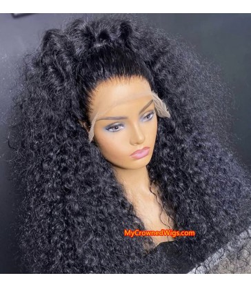 Wet curly 370 lace front human hair wig pre plucked with baby hair long deep parting【MCW387】