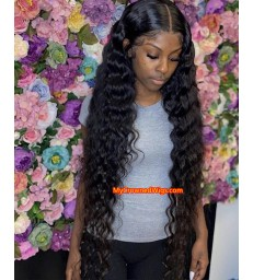 Natural wave 370 lace front human hair wig pre plucked with baby hair long deep parting【MCW379】