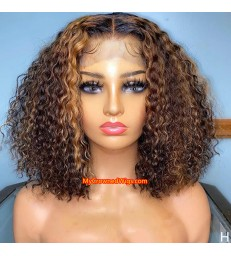 Ombre Color Curly bob 370 lace front human hair wig pre plucked with baby hair long deep parting【MCW389】