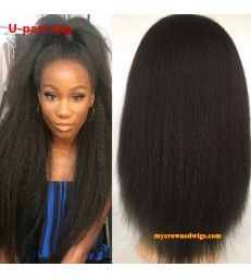 Brazilian virgin italian yaki U part wig -[MCW701]
