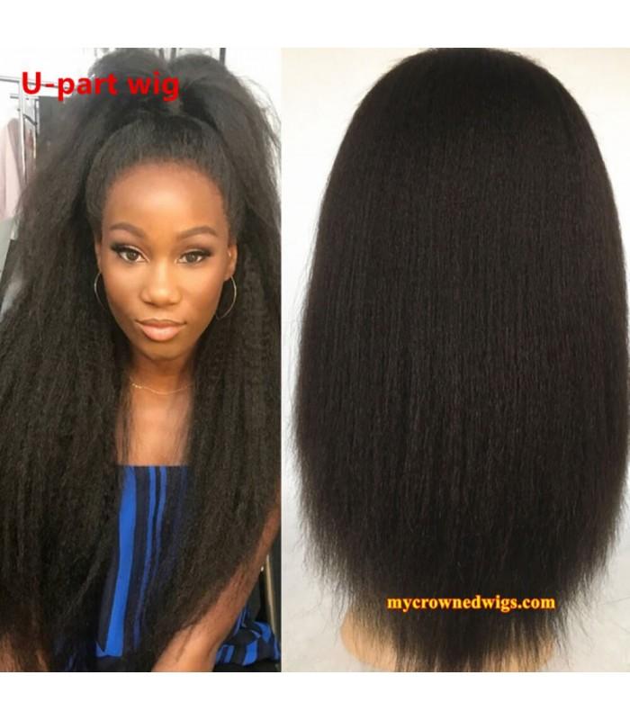 Brazilian virgin italian yaki U part wig -[MCW701]