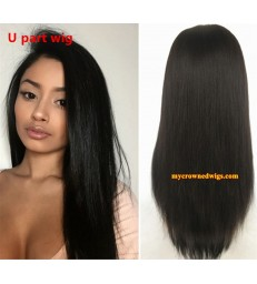 Brazilian virgin light yaki U part wig -[MCW702]