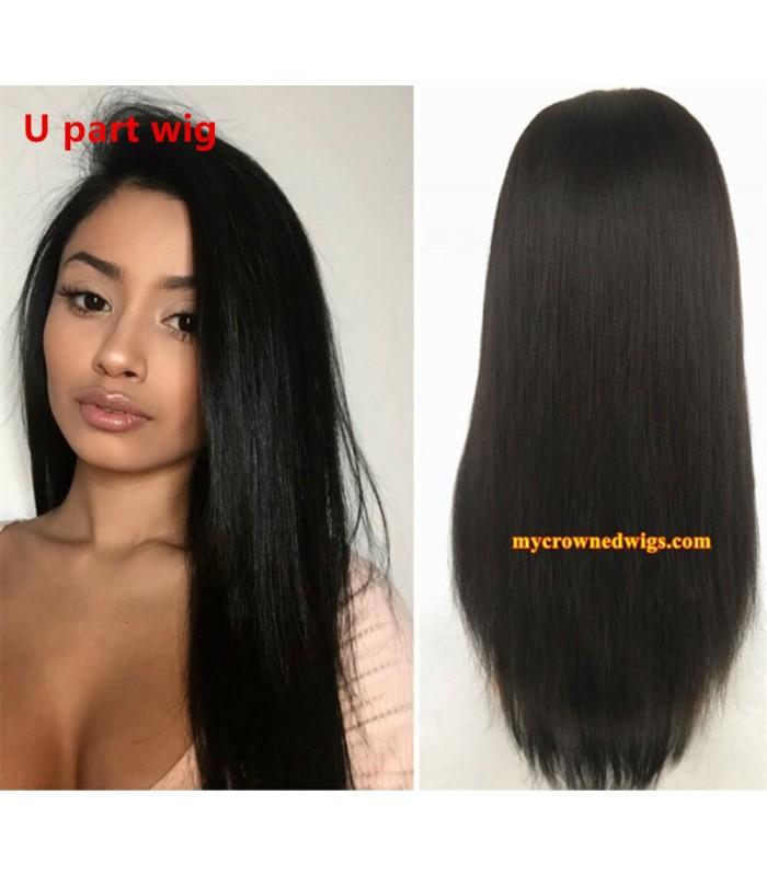 Brazilian virgin light yaki U part wig -[MCW702]