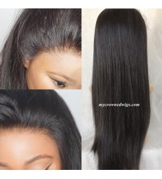 Brazilian virgin silk straight bleached knots lace front wig-[MCW601]