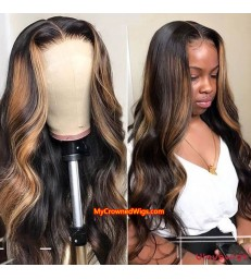 Honey Blonde Highlights - Ombre Loose Body Wave Human Hair 360 Lace Wig 【MCWB3】