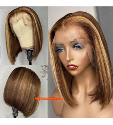 Brazilian virgin Ombre highlights bob 13*6 lace front wig [BH001]