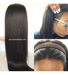 Brazilian virgin light yaki bleached knots lace front wig-[MCW602]