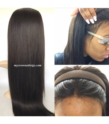 Brazilian virgin light yaki bleached knots full lace wig-[MCW602]