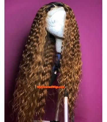 Brown Color Mercy Wave Pre- plucked 360 Wig