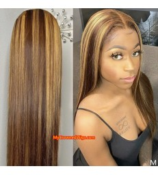 Honey Blonde Highlight Wigs Straight 360 Lace Front Wigs Pre Plucked [BH002]