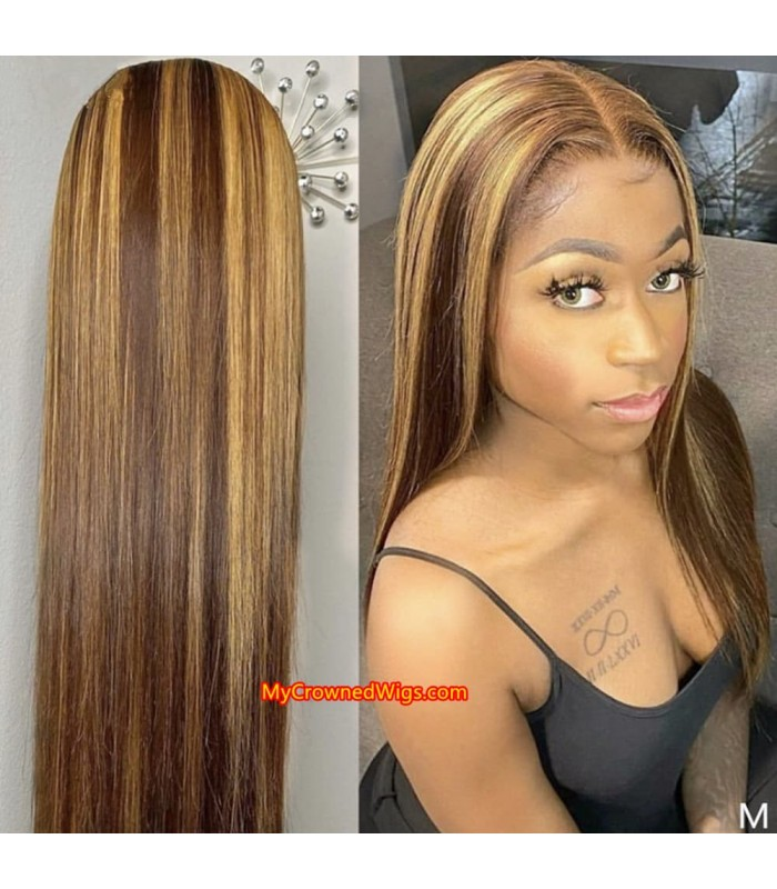 Honey Blonde Highlight Wigs Straight 13*6 Lace Front Wigs Pre Plucked [BH002]