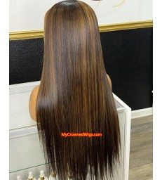 Brazilian virgin Ombre highlights straight 13*6 lace front wig [BH003]