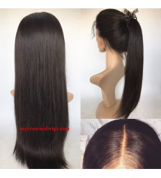 Stock 180% Density 360 Lace frontal Wig Silk Straight Virgin Human Hair -[MCW363]