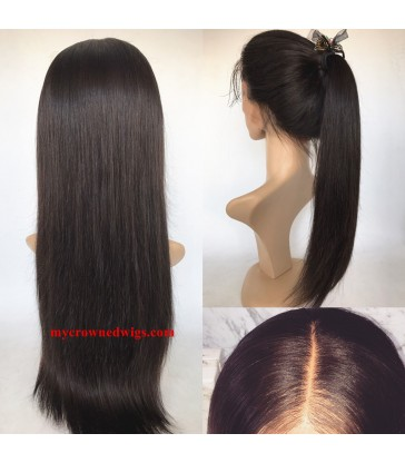 Brazilian virgin silk straight 360 silk top frontal wig -[MCW363]