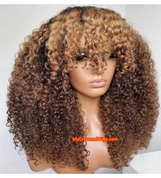 Brazilian Virgin ombre blonde curly hair with bangs 360 frontal Wig [BH005]