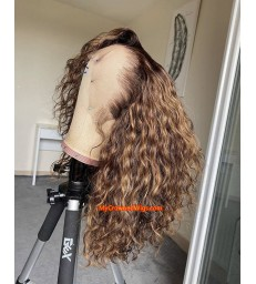 Ship in 24 Hours---Brazilian Virgin ombre curly hair 360 lace frontal Wig [BH006]