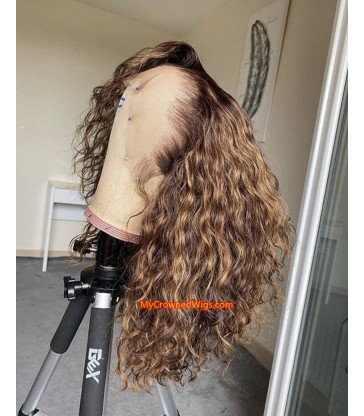 Brazilian Virgin ombre curly bob 13*4 lace frontal Wig [BH006]
