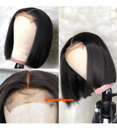 Brazilian virgin human hair 3.5*4 silk based lace closure bob wig [MCW803]
