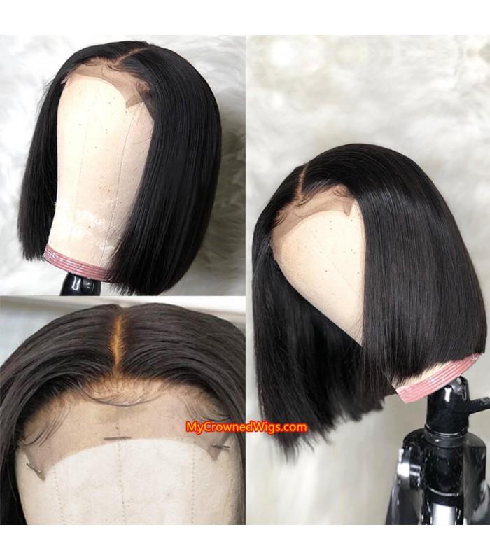 Brazilian virgin human hair 3.5*4 silk based lace front bob wig [MCW803]