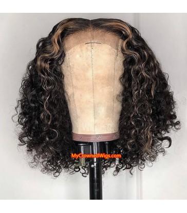 Brazilian Virgin Highlight Color Curl Bob 370 lace frontal Wig [MCW394]