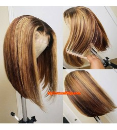 Ready to Ship---Brazilian virgin Short Blonde Highlights Bob 13*6 lace front wig [BH001]
