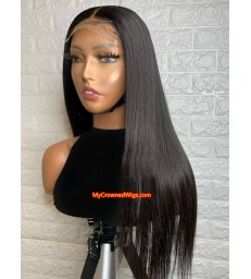 5*5 undetectable silk straight HD lace closure human hair wig【hcw001】