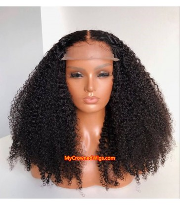 5*5 undetectable tight deep curly HD lace closure human hair wig【hcw002】