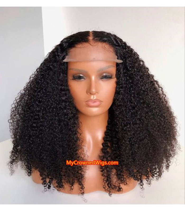 Tight deep curly 5*5 undetectable HD lace closure human hair wig【hcw002】