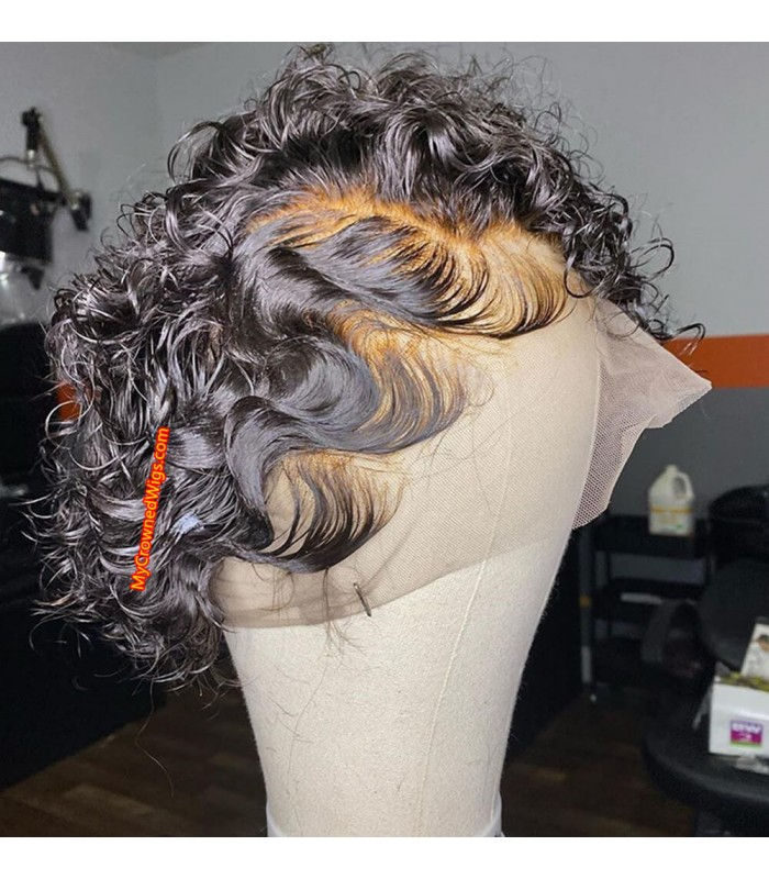Brazilian Virgin Wave Curly Short Pixie Cut 13*6 lace frontal Wig [pc001]