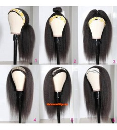 Headband Wig Italian Yaki Beginner Friendly Virgin Human Hair Wigs [HW001]