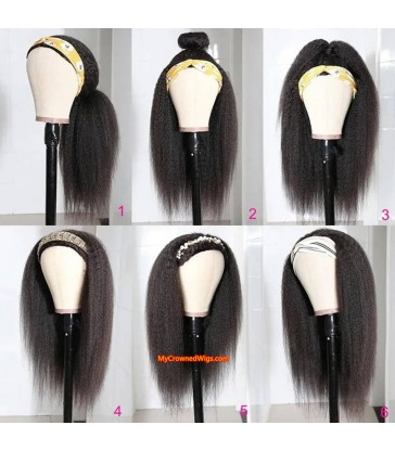 Headband Italian Yaki Wig With Pre-attached Scarf Human Hair Wigs [hb001]