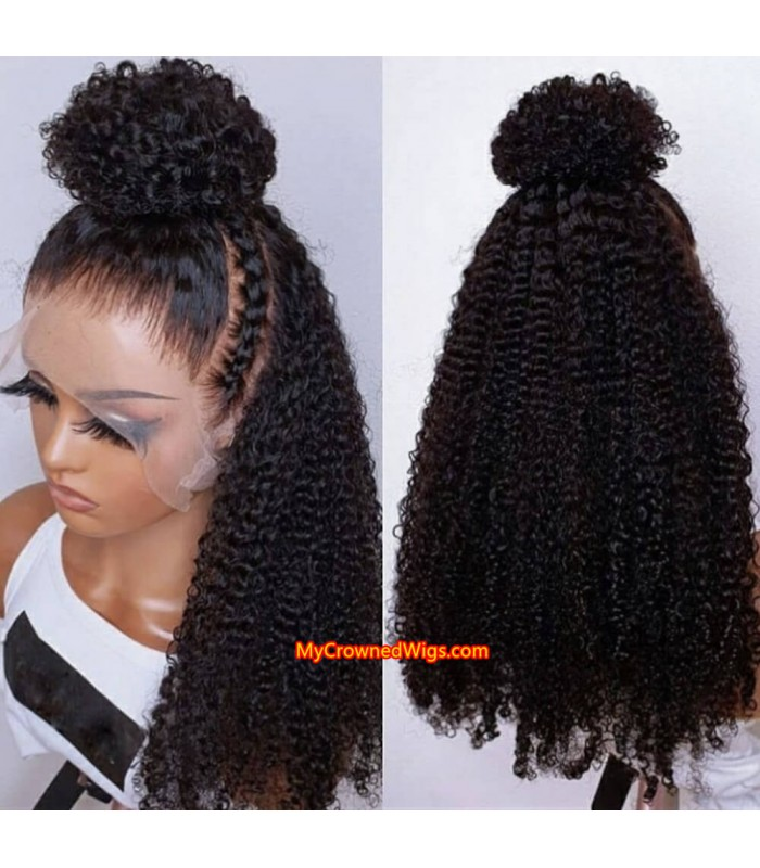 Brazilian virgin jerry curl bleached knots lace front wig-[MCW605]
