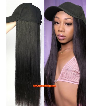 Cap With Straight Hair Synthetic Hair Hat Wig [HCW002]