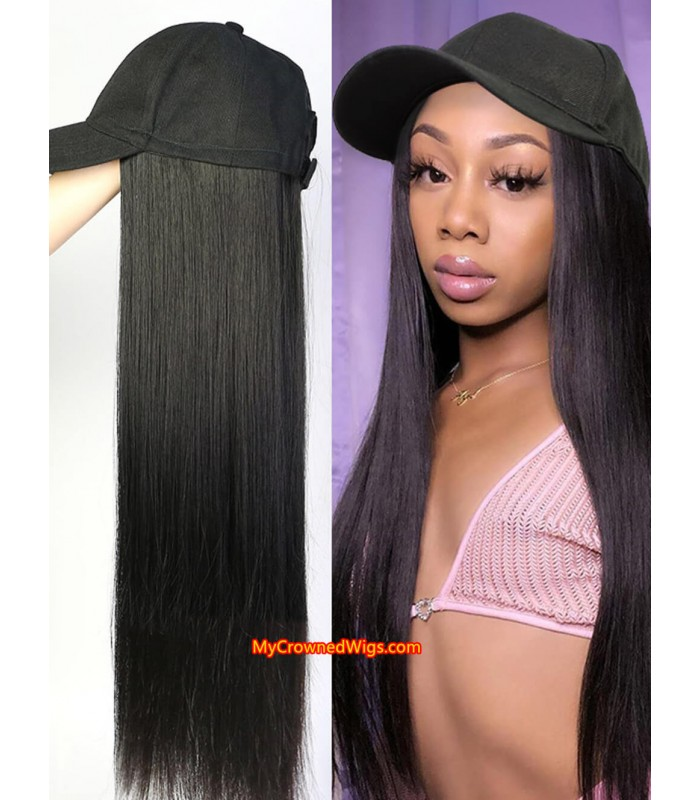 Cap With Straight Hair Synthetic Hair Hat Wig [HW002]