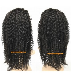 Brazilian virgin jerry curl bleached knots full lace wig-[mcw228]
