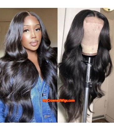 5*5 undetectable body wave HD lace closure human hair wig【hcw003】