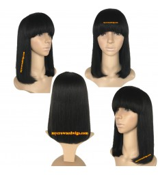 brazilian virgin hair machine made blunt cut BOB--[MCW801]