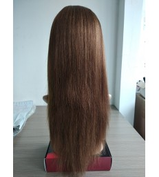 Ready to wear light yaki brown color glueless silk top lace front wig--[LY001]