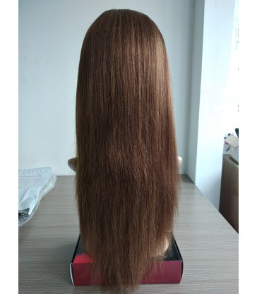 Brazilian virgin light yaki brown color silk top lace front wig--[LY001]