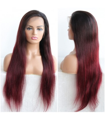 100% virgin human hair burgundy color silky straight glueless full lace silk top wig--LY002