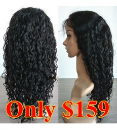 On Sale---Lace precut Brazilian virgin water wave 360 lace frontal wig --[BB002]