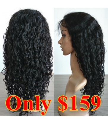 On Sale---Lace precut Brazilian virgin water wave 360 lace frontal wig --[BB002]