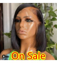 50% OFF---Side Parting Bob 13x6 Lace Frontal Wig 150% Density Pre Plucked Bleached Knots 【LF222】