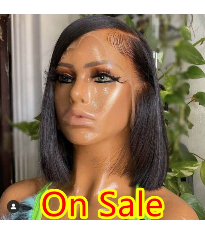 150% Density Lace Front Human Hair Wigs For Black Women 13x6 Short Bob Wig Remy Natural Pre Plucked Bleached Knots 【LF222】