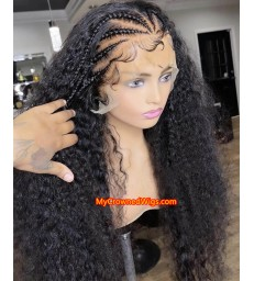 Stock curly wave 13x6 Virgin Human Hair long parting Lace Front Wigs [LF444]