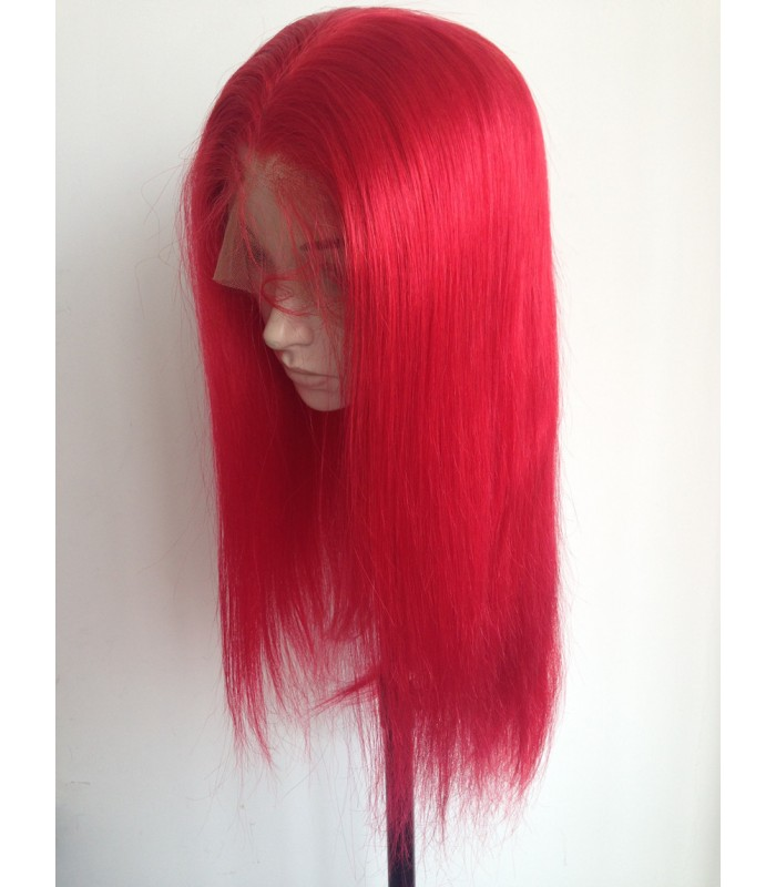 Brazilian virgin silk straight red color 360 frontal lace wig [MCW927]
