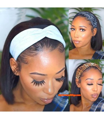 $20 off---Headband Wig Straight Bob Beginner Friendly Virgin Human Hair Wigs [HW003]